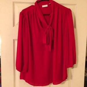 NY&COMPANY red blouse. Tie in front. Size L